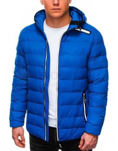 Men's winter quilted jacket C451 - blue
