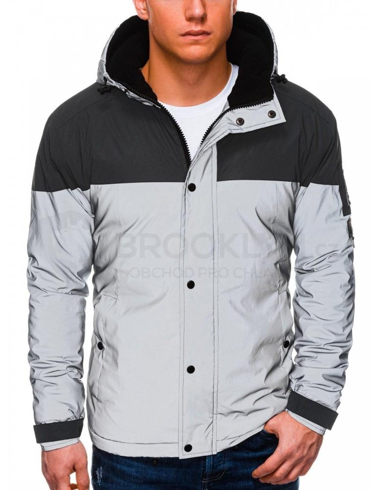 Pánská zimní reflexní bunda C462 - šedá
