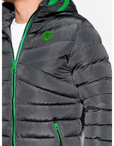 Men's Autumn quilted jacket C363 - dark grey