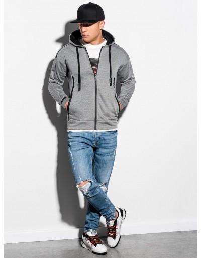 Men's zip-up sweatshirt B1076 - grey melange
