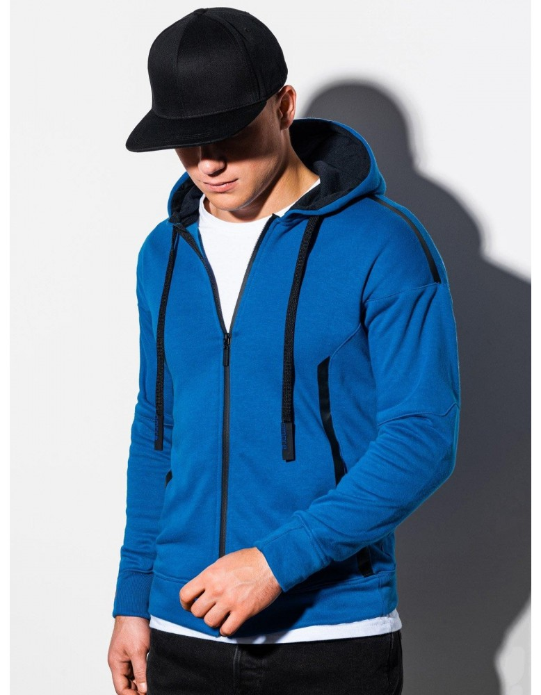 Pánská mikina na zip B1076 - modrá