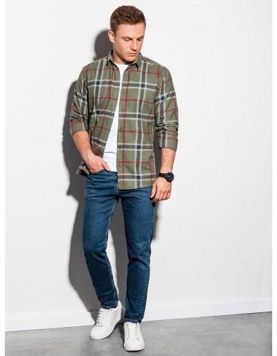 Men's shirt with long sleeves K564 - khaki