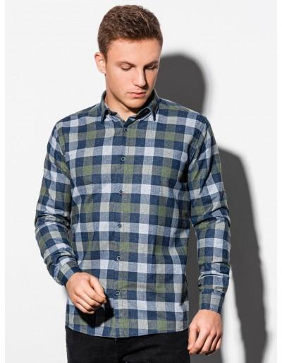 Pánská košile s dlouhým rukávem K565 - khaki