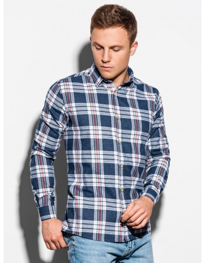 Men's shirt with long sleeves K562 - white/navy