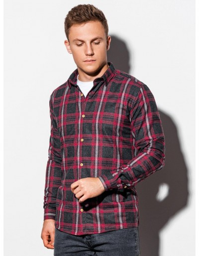 Pánská košile s dlouhým rukávem K562 - červená