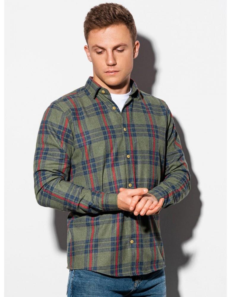 Pánská košile s dlouhým rukávem K562 - khaki