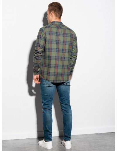 Men's shirt with long sleeves K562 - khaki