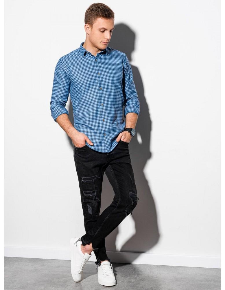 Pánská košile s dlouhým rukávem K563 - světle modrá