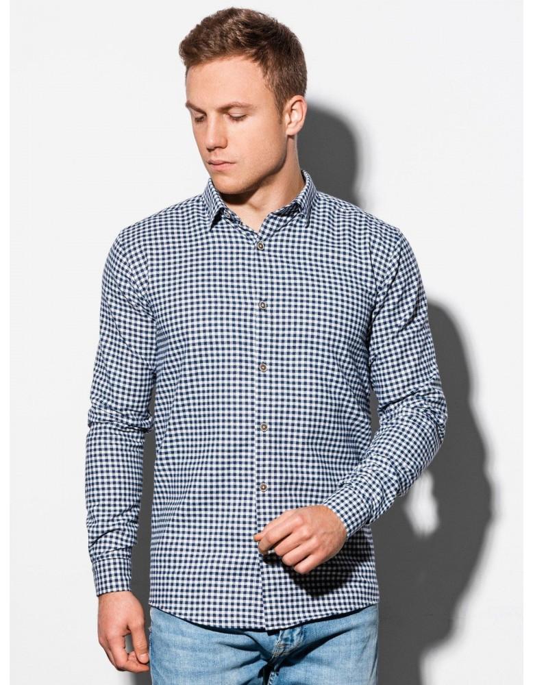 Pánská košile s dlouhým rukávem K563 - bílá / námořnická