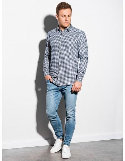 Men's shirt with long sleeves K563 - white/navy