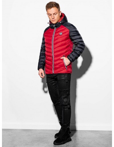Men's mid-season quilted jacket C366 - red/black