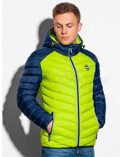 Men's mid-season quilted jacket C366 - green/navy
