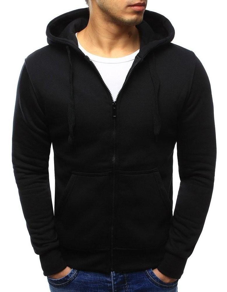 Černá pánská mikina na zip s kapucí BX2192