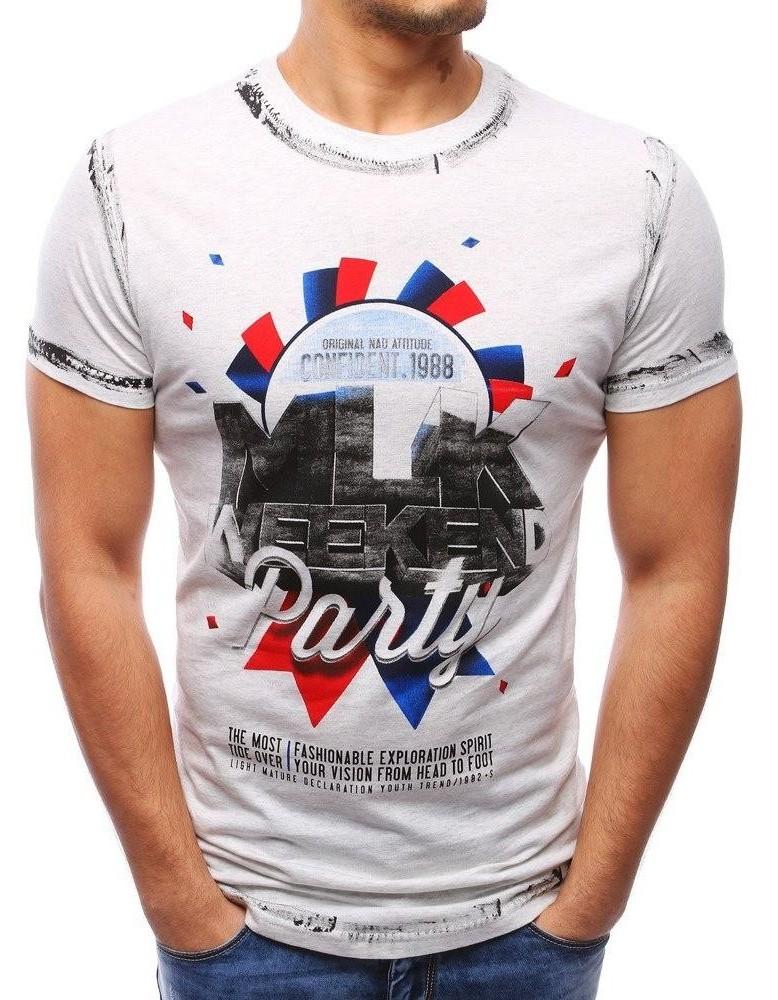 Pánské tričko s potiskem šedé (rx1788)