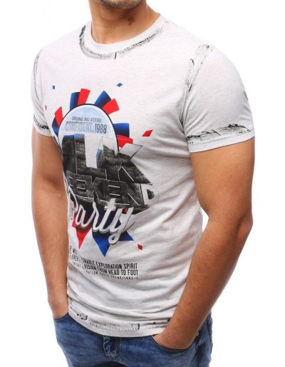 T-shirt męski z nadrukiem szary (rx1788)
