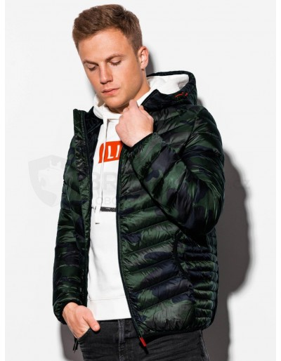 Men's mid-season quilted jacket C368 - green/camo