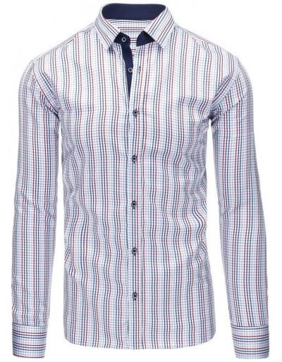 Bílá pánská kostkovaná košile s dlouhým rukávem DX1308