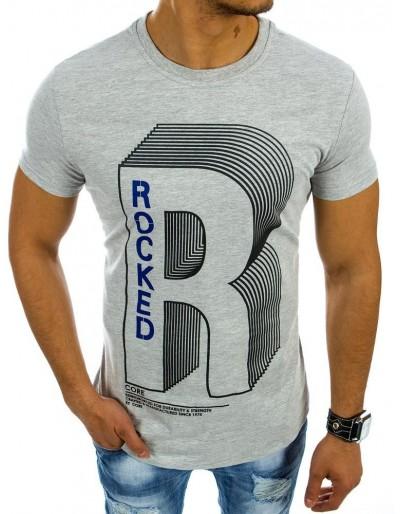 Pánské šedé tričko s potiskem (rx2135)