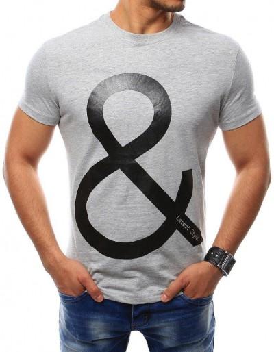 Pánské šedé tričko s potiskem (rx2388)