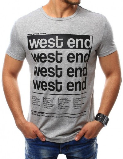 Pánské šedé tričko s potiskem (rx2407)