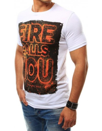 T-shirt męski z nadrukiem biały RX2460