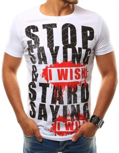 Bílé pánské tričko RX2507 s potiskem
