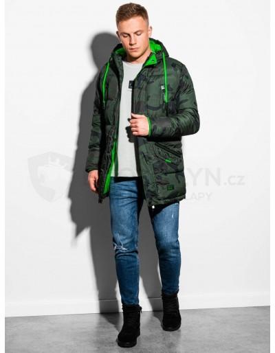 Men's winter quilted jacket C383 - green/camo