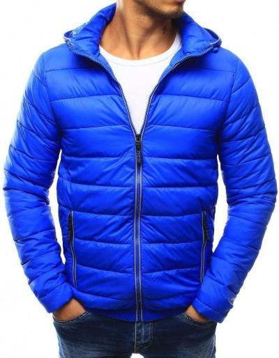 Modrá pánská prošívaná bunda s kapucí TX1793