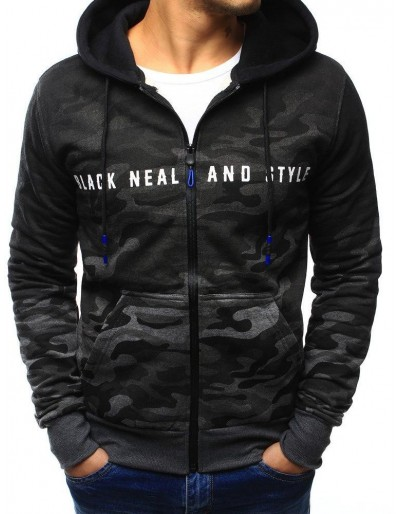 Grafitová pánská maskáčová mikina na zip s kapucí BX3129