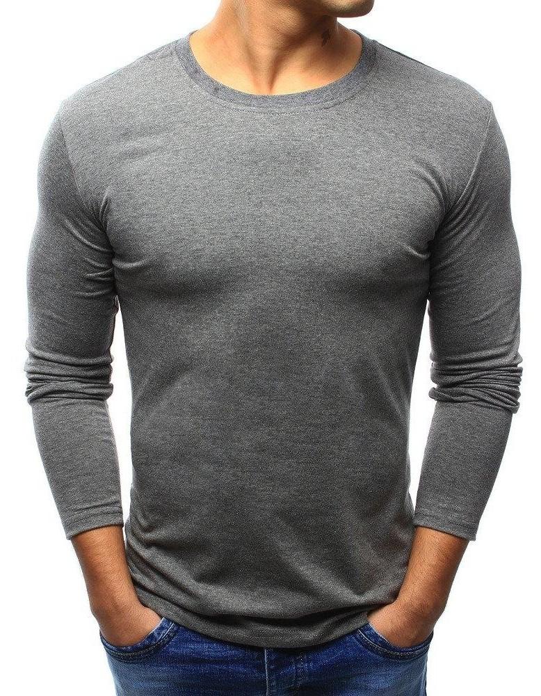 Pánská hladká antracitová košile s dlouhým rukávem LX0419