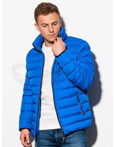 Pánská prošívaná zimní bunda C384 - modrá