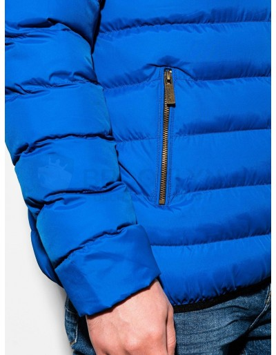 Men's mid-season quilted jacket C384 - blue