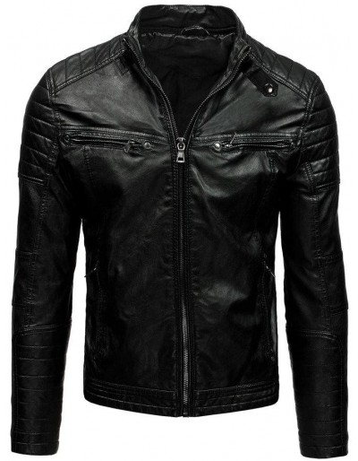 Černá pánská kožená bunda TX1660A