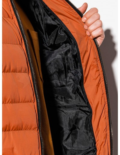 Men's mid-season quilted jacket C384 - orange