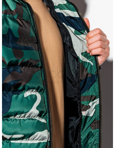 Men's mid-season quilted jacket C384 - green/camo