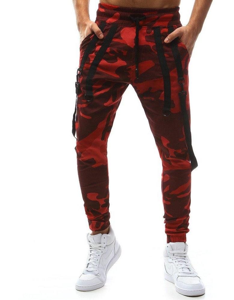 Červené pánské kamuflážní běžecké kalhoty UX1129