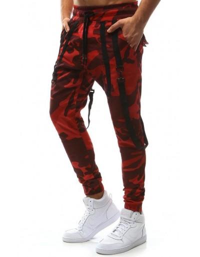Spodnie męskie joggery camo czerwone UX1129