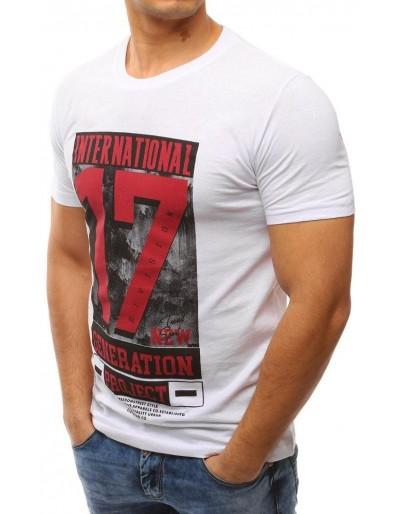 T-shirt męski z nadrukiem biały RX2607