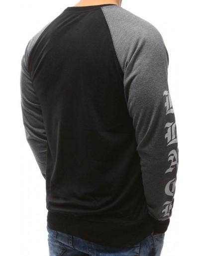 Černá pánská mikina bez kapuce s potiskem BX3451