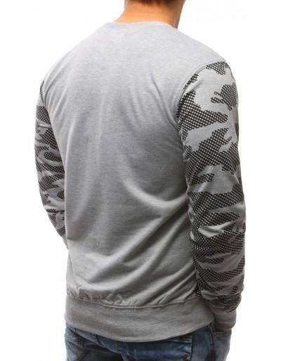 Maskáčovo-šedá pánská mikina bez kapuce s potiskem BX3475