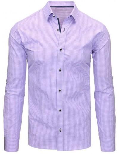 Fialová pánská kostkovaná košile s dlouhým rukávem DX1463