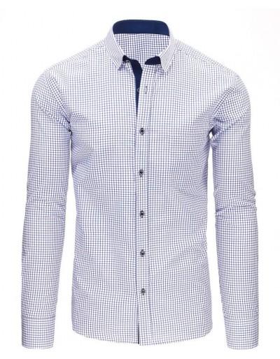 Námořnická a bílá pánská kostkovaná košile s dlouhým rukávem DX1486