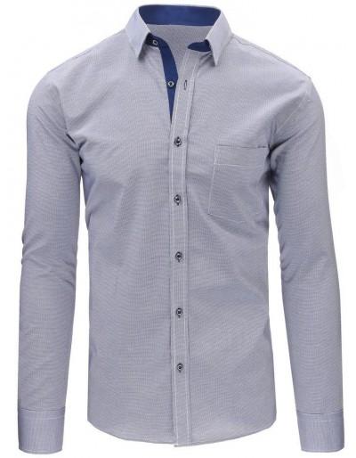 Námořnická a bílá pánská kostkovaná košile s dlouhým rukávem DX1489
