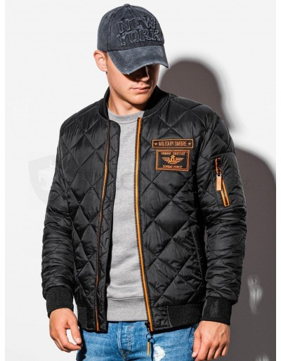 Men's mid-season bomber jacket C357 - black