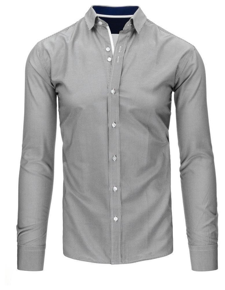 Pánské bílé a černé pruhované tričko DX1495