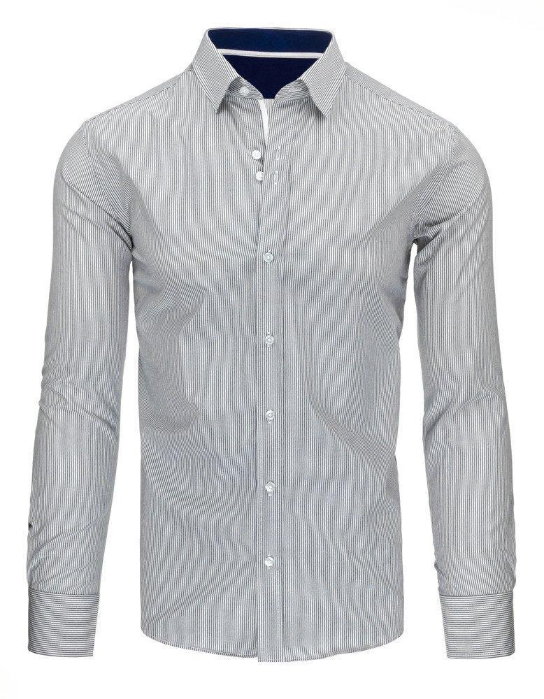 Bílé a šedé pruhované tričko DX1496