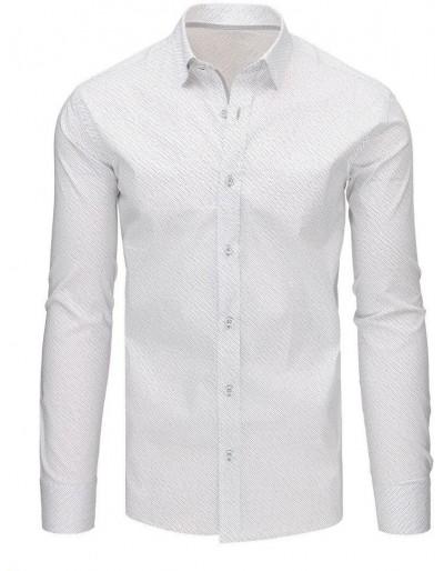 Bílé pánské tričko s dlouhým rukávem DX1498
