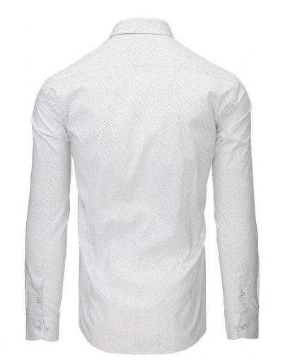 Biała koszula męska we wzory z długim rękawem DX1498