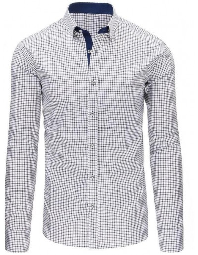 Černobílá pánská kostkovaná košile s dlouhým rukávem DX1499