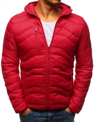 Červená pánská prošívaná bunda s kapucí TX2238